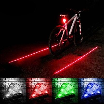 Bicycle Bike Mtb 2 Laser Beam 5 Led Rear Tail Light Safety