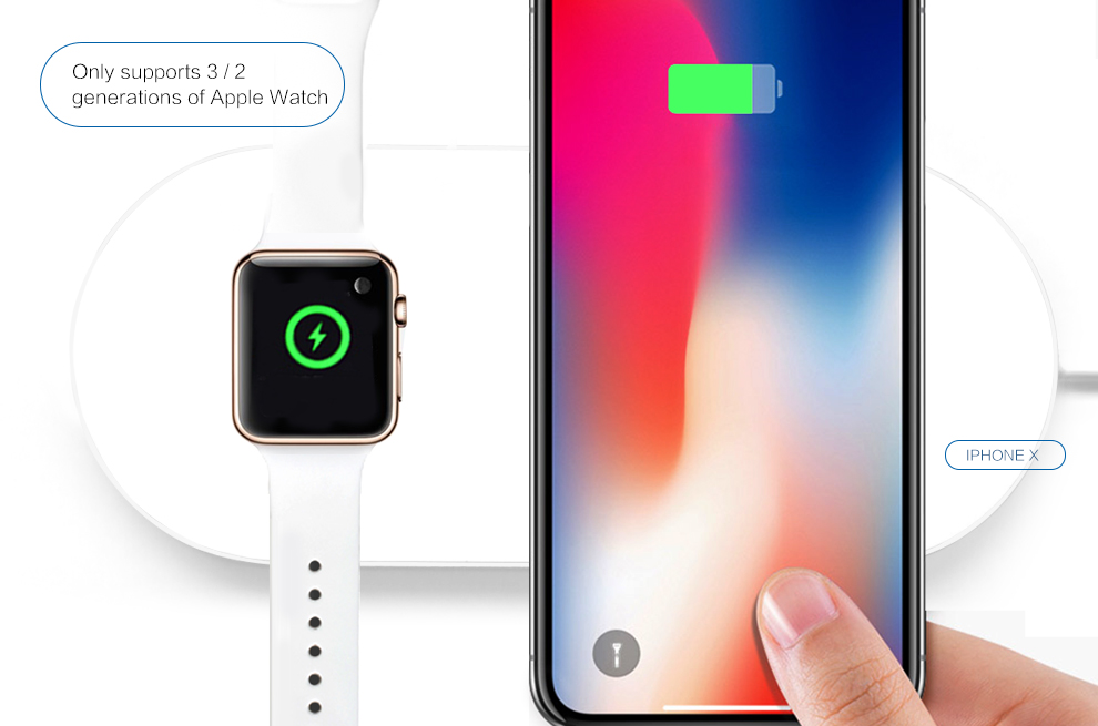 Mini AirPower For Apple Watch Series 2 3 Wireless Charger Iphone X 8 Plus Support 75w Fast Charging Dock
